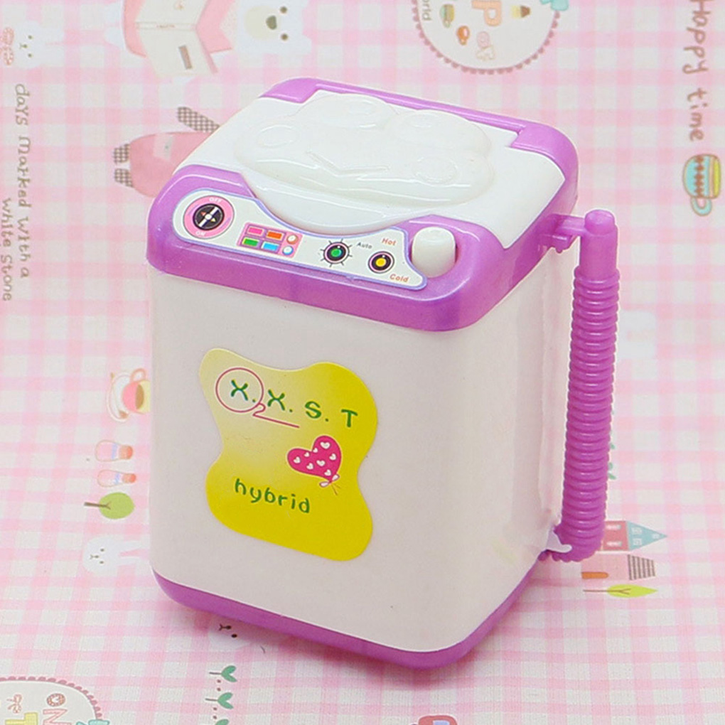 Doll House Washing Machine Mini Cleaning Washing Machine Pretend Play Kids Toys Children Housekeeping Dollhouse Furniture Gifts