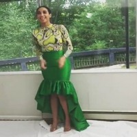 Green Long Skirt For Evening Party Dresses vestido de festa longo Elegant Ruffles Maxi Skirts Satin