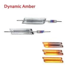 2Pcs LED Amber Side Marker Turn Signals Indicator Light For BMW 1/3/5Ser E60 E61 E81 E82 E87 E88 E90 E91 E92 E93 With M Logo
