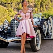 Короткое розовое платье smileven для выпускного вечера кружевное