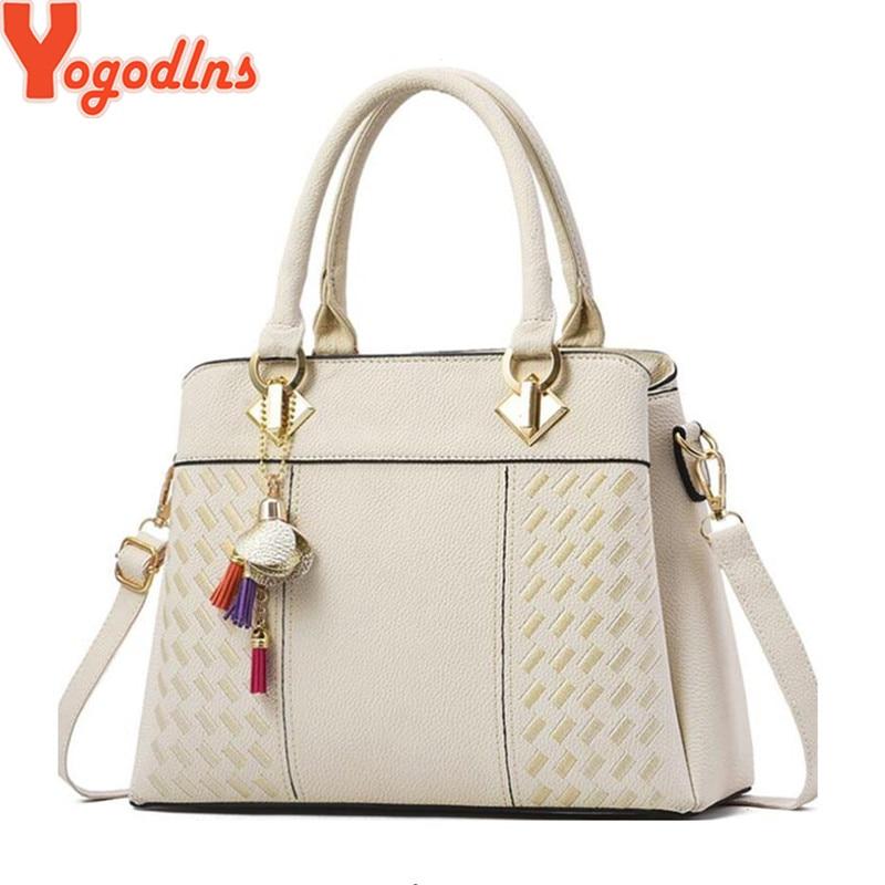 Yogodlns Fashion Women Handbags Tassel PU Leather Totes Bag Top-handle Embroidery Crossbody Bag Shoulder Bag Lady Simple Style