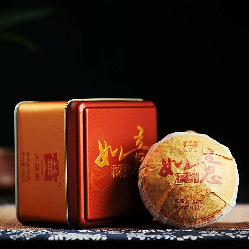 TAETEA RUYI TUOCHA * 2014 Menghai Tea Factory Pu-erh Dayi Puer Tea Ripe 100g Box
