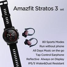 Amazfit-reloj inteligente Stratos 3 +, versión Global, con 80 modos deportivos, TWS, Monitor de ritmo cardíaco, resistente al agua
