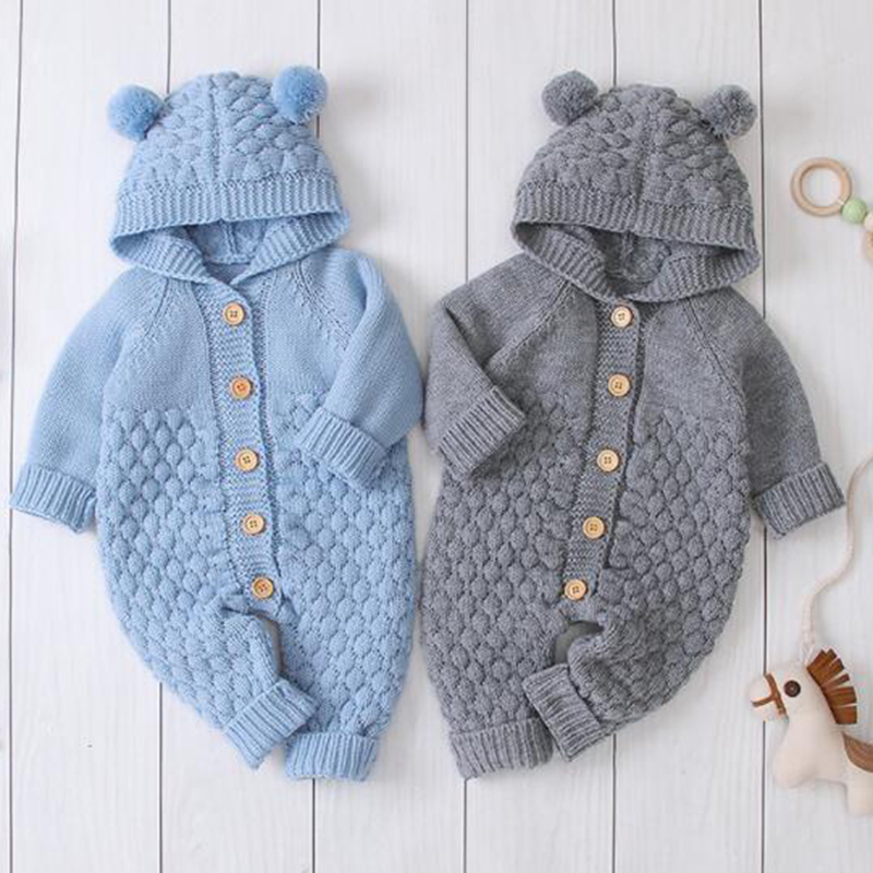 2020 New Spring Toddler Baby Knit Rompers Cartoon Bear Hooded Knitted Romper Newborn Girls Boys Jumpsuits Long Sleeve Sweater