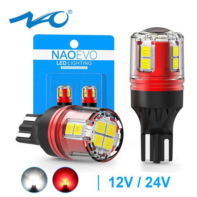NAO W16W LED أضواء T15 T16 12 فولت 24 فولت 2000Lm سيارة احتياطية لمبة أبيض أحمر 912 لسيارات Bmw e46 e90 e39 السيارات عكس الذيل ملحقات المصابيح