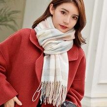 Veithdia 2020 novo outono inverno feminino lã xadrez cachecol feminino cachecóis de caxemira ampla treliça longo xale envoltório cobertor quente tippet