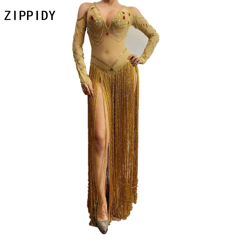 Gold Red Rhinestones Long Fringe Transparent Mesh Bodysuit Bar DS Dance Clothes Women's Birthday Celebrate Outfit