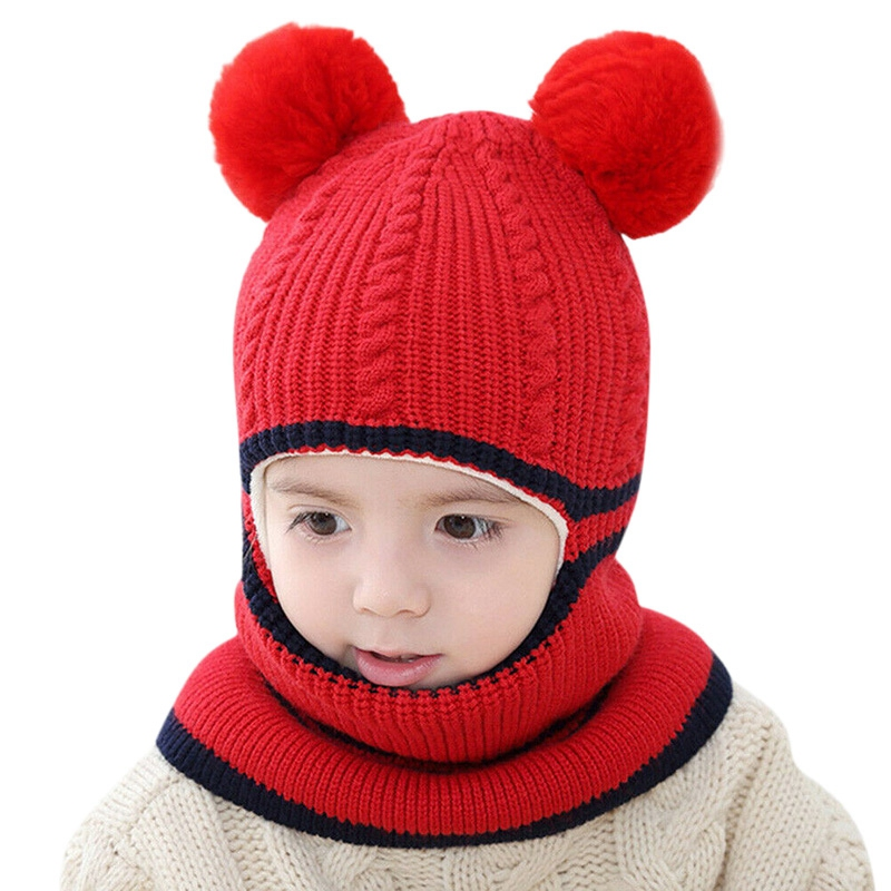 Boys And Girls Hooded Scarf Hat Winter Warm Children's Bib One-Piece Hat Plus Velvet Thickening Ear Protection Face One Knitted