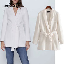 2020 spring england office lady simple sashes white blazer feminino blazer women blazer mujer 2020 women blazers and jackets