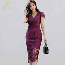 H Han Queen Sexy Hollow Out Lace Pencil Dress Women Autumn New V-neck