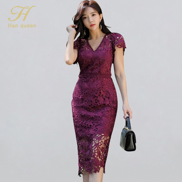 H Han Queen Sexy Hollow Out Lace Pencil Dress Women Autumn New V neck Sheath Bodycon Dresses Casual Evening Party Club Vestidos