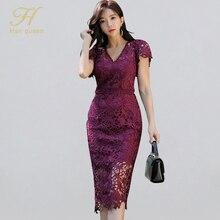 H Han Queen vestido tubo de encaje calado, Sexy, para mujer, Otoño, nueva funda con cuello en V, ceñido, informal, para fiesta y Club nocturno