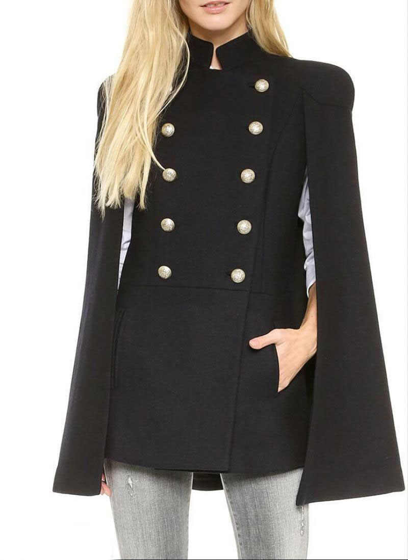 Frauen Stehen Kragen Military Doppel-Breasted Mantel Cape-Mantel Schal Outwear Jacke