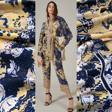 145cm Width Soft Stretch Satin Printed Polyester Material Fashion Women's Clothing Printed Fabric Cloth for Dress by the Meter