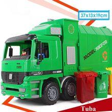 1:12 детский мусорный грузовик, игрушка, имитация инерции, Инженерная техника, чистка, модель машины, распределение трех мусорных банок