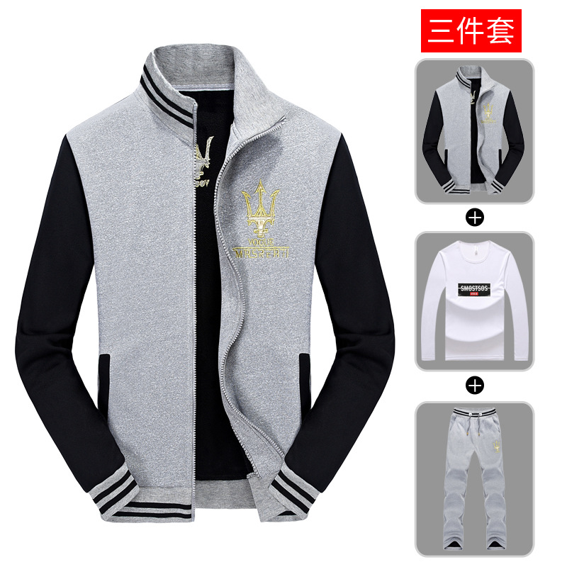 19 New Style Men Three-piece Set Casual Hoodie Suit Spring And Autumn Students Sports Clothing Stand Collar Cardigan Fashion