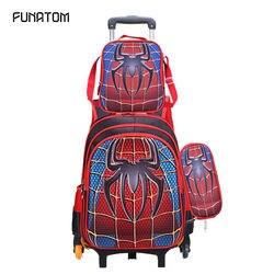 3D Spider Mannen kinderen Reizen Bagage Rugzak op wielen Jongen trolley Rugzak met wiel voor school Kids rolling Bag