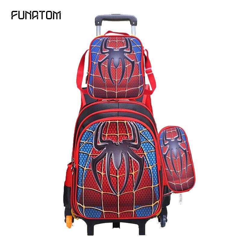 Sac à dos de bagage de voyage des enfants 3D Spider hommes sur roues sac à dos de chariot de garçon avec la roue pour le sac de roulement d'école d'enfants d'école