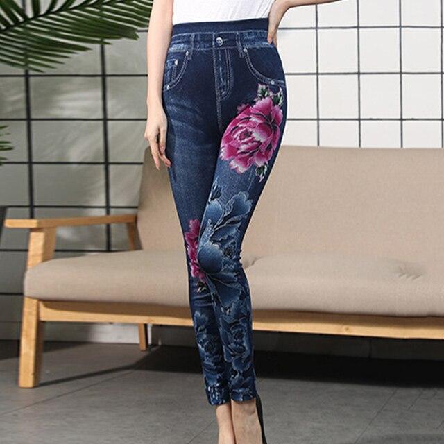 Autumn Women Thermal Leggings Ladies Fleece Faux Denim Seamless Leggings Pants Floral Print Sexy Full Plus Size Pants Streetwear 2