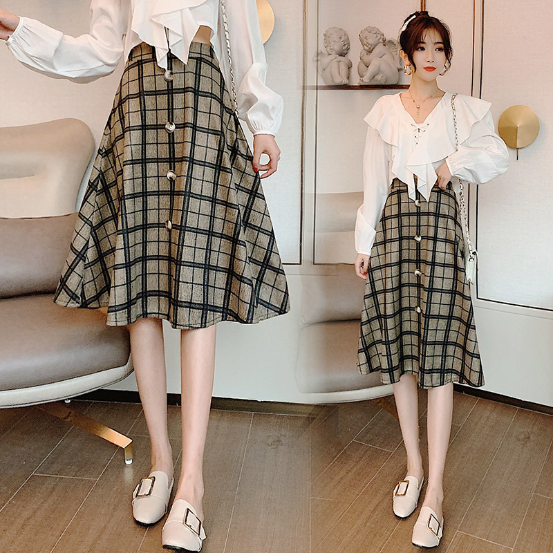 2019 Autumn And Winter New Style Korean-style Students Woolen A- Line High-waisted Slimming Plaid Mid-length Skirt
