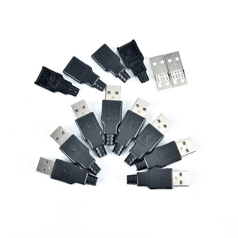 DIY 4 פינים תקע USB 2.0 PCB SDA שקע מחבר עם שחור פלסטיק כיסוי סוג USB זכר מתאם חיבור נתונים כבל קו