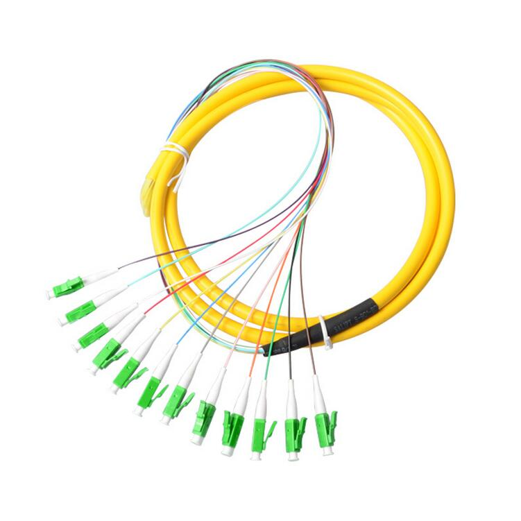 Free Shipping  Fiber Optic Bundle Pigtail LC Single Mode 12 Core Pigtail LC APC CATV 1.5m Patch Cord