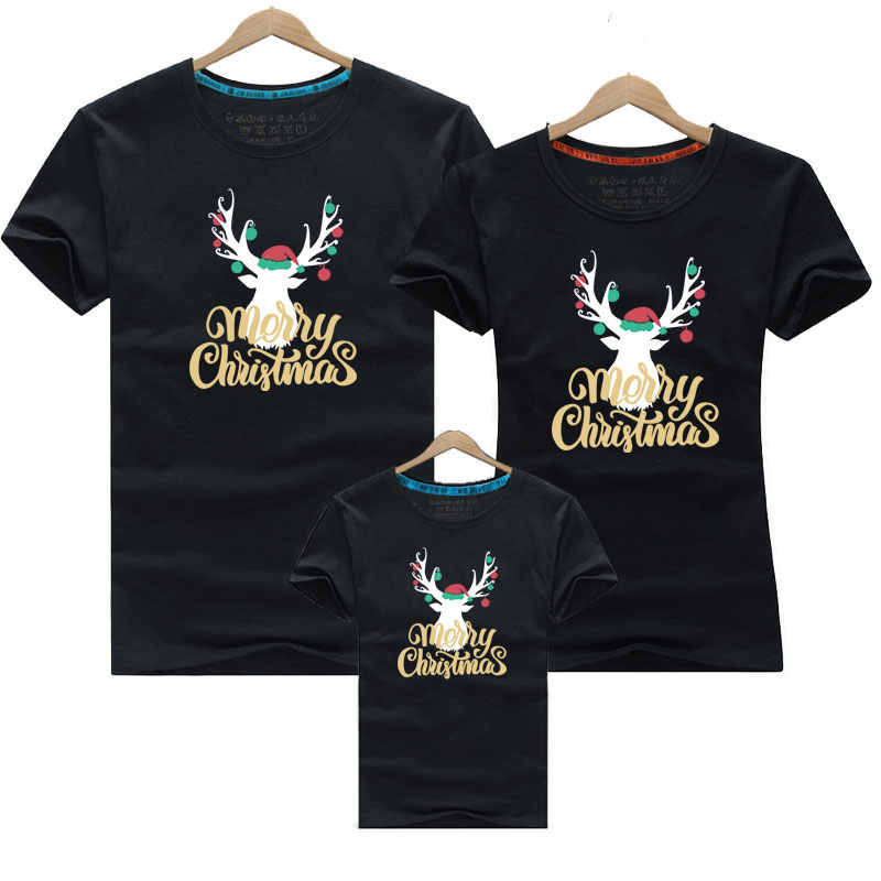 Kerst Familie Bijpassende Outfits 2019 Baby Familie Outfits Kleding Family Look Vader en Zoon T-shirt Voor Vader en Zoon Kleding
