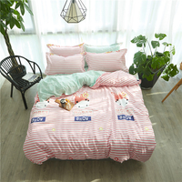 Thumbedding Cartoon Horse Bedding Set Girls Lovely Creative Duvet Cover Pink Stripes King Queen Full Twin Single Bed Set
