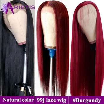Colorful Human Hair Wigs #99J/ Burgundy/#Natural Color Glueless Lace Wig Pre Plucked With Baby Hair 2020 New Fashion Style