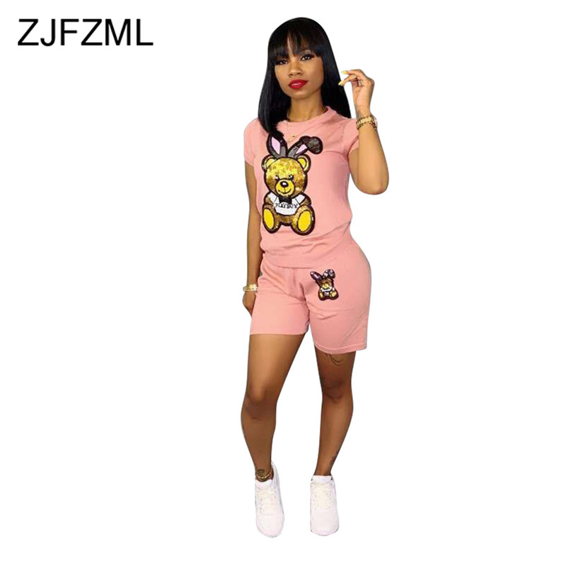 Bear Sequins Sexy 2 Piece Matching Sets Women Clothes O Neck Short Sleeve T Shirt And  Bodycon Shorts Cartoon Two Piece Outfits