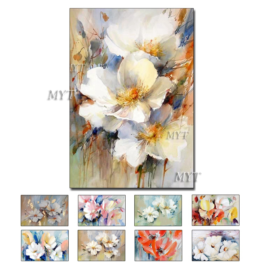 Three White Flowers Abstract Oil Painting Modern Hand-painted Wall Art Living Room Picture Home Decoration Painting No Framed