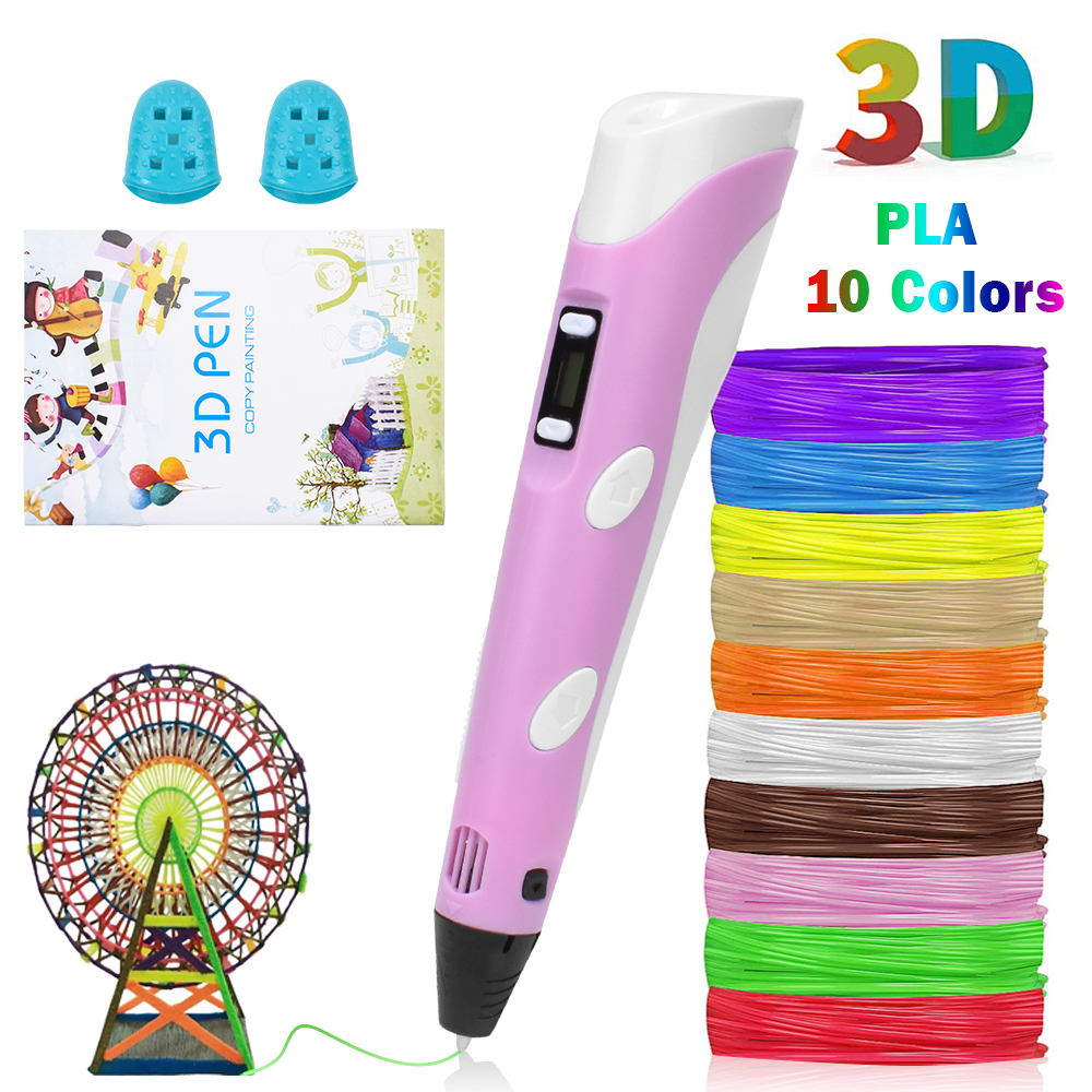 3D Printing Pen Graffiti Drawing Painting Pens Adjustable Temperature with USB Cable PLA Filament Educational Toy for Kids DIY
