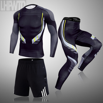 3-piece sets Compression Suits Men's Quick Dry set Clothes Sport Running MMA jogging Gym work out Fitness Tracksuit clothing 23