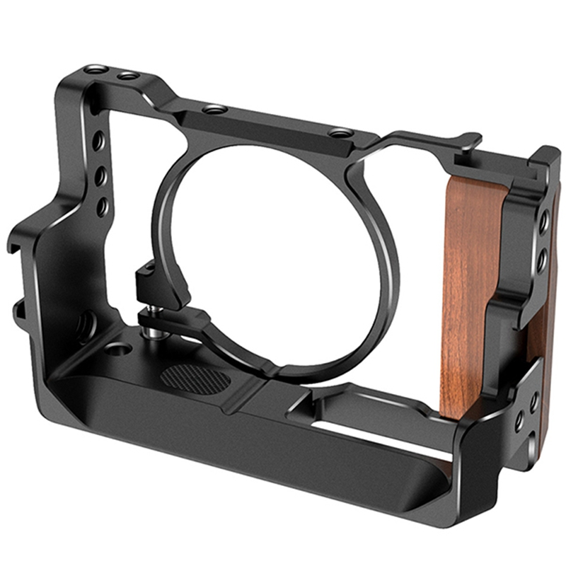 Metal Camera Vlog Cage for Sony <font><b>RX100</b></font> VI/VII Dual Cold Shoe Quite Release Plate with Wooden Handgrip 1/4 Screw Accessories image