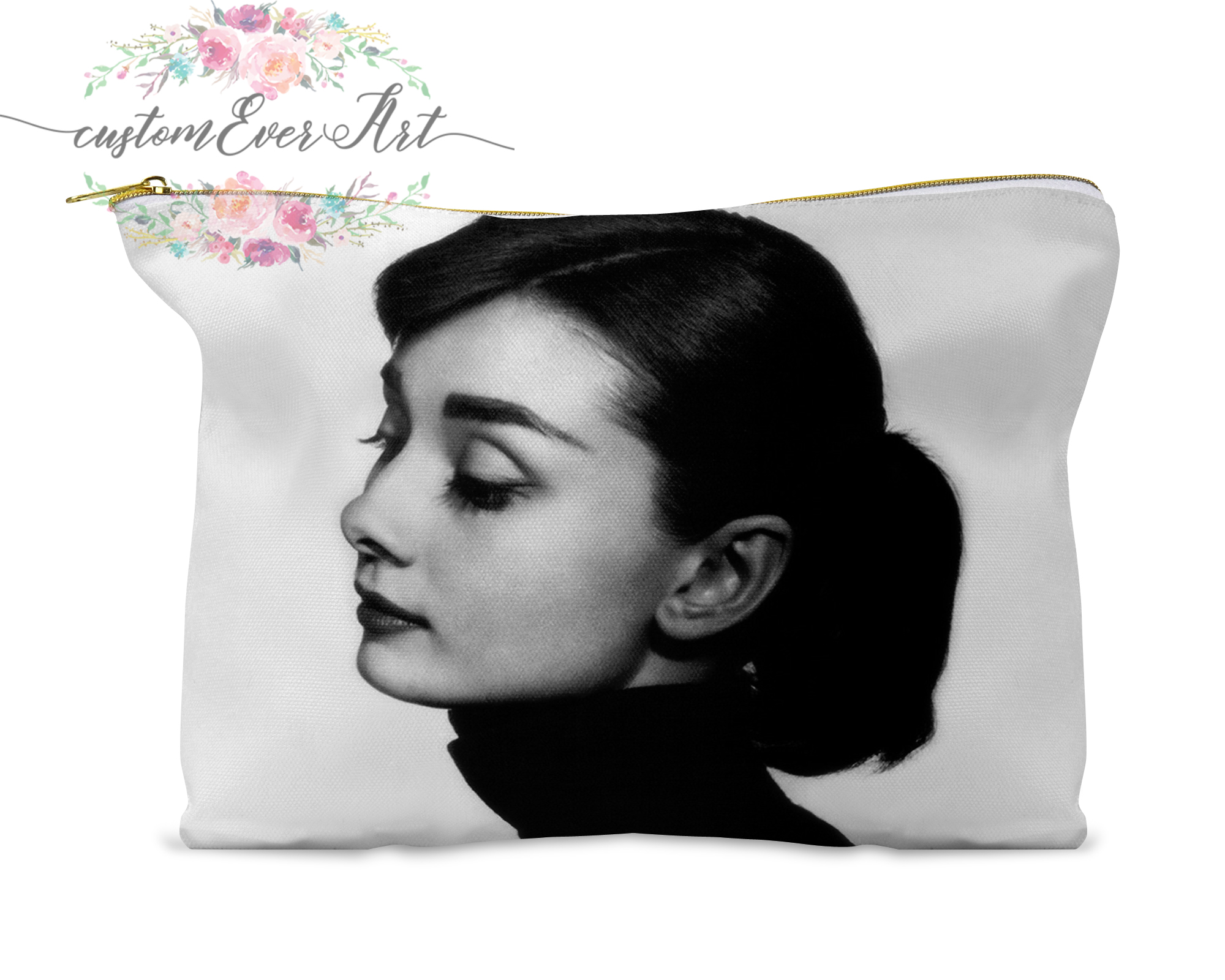 Audrey Hepburn Cosmetic Bag Personalized Small Makeup Bag Funny Makeup Organizer Toiletry Bag Zipper Pouch