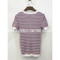 2020 Summer Women's T Shirt Fashion Knit Short Sleeve Top O Neck High Quality Striped Women's T Shirt Stretch knit Top