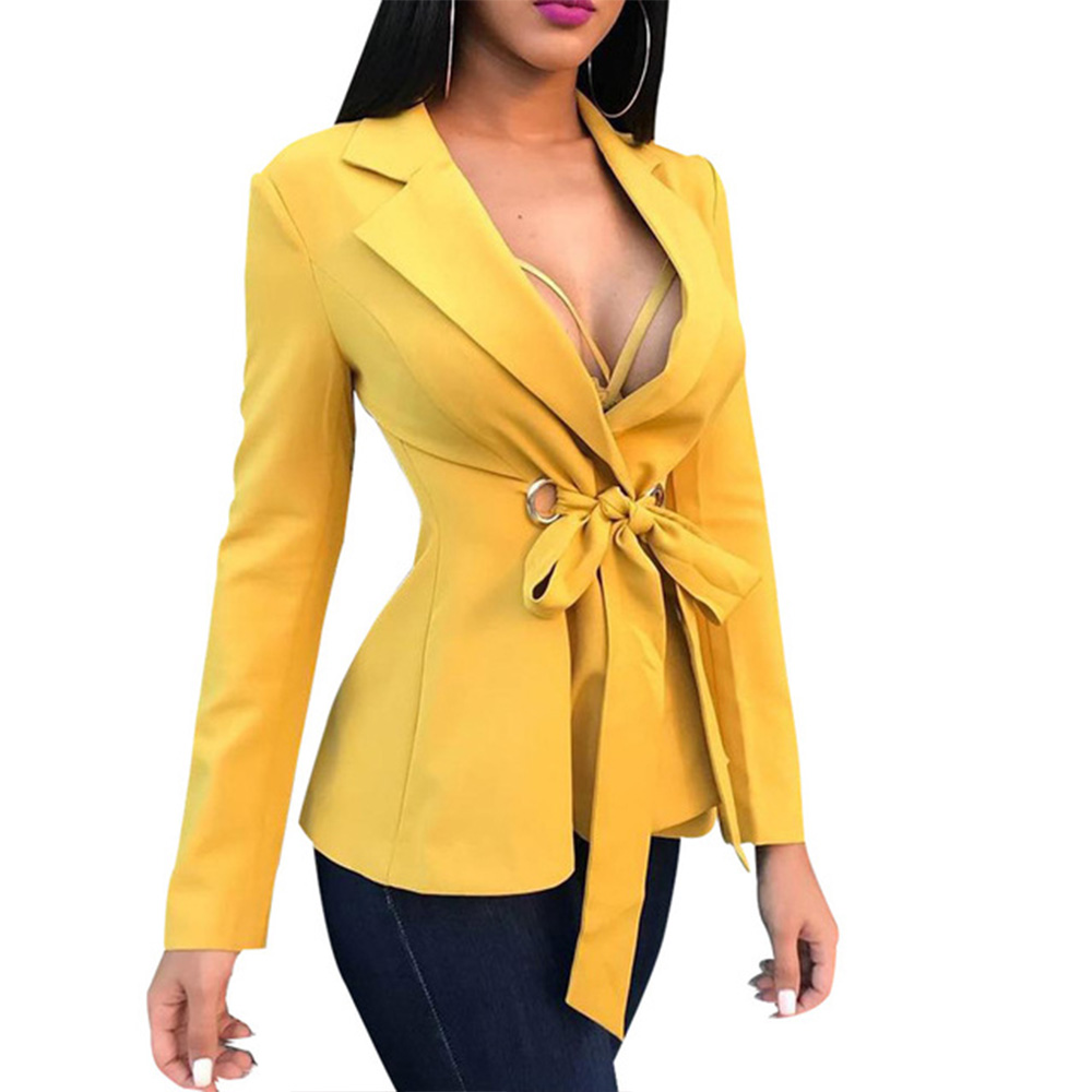 Womens Blazers And Short Coats Solid Single Button Notched Office Lady Yellow Blazers Ladies Coats With Belt Bow Fashion Autumn
