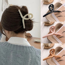 Korean Acrylic Hair Claws Clips For Women Fashion Simple Solid Color Cross Big Barrettes Elegant Girls Hairpins Hair Accessories