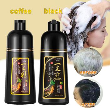 500ml permanentny szampon do czarnych włosów organiczny naturalny szybki farba do włosów esencja roślinna czarny szampon koloryzujący dla włosów dla kobiet mężczyzn tanie i dobre opinie G20160070 CN (pochodzenie) Kolor włosów HBH160900