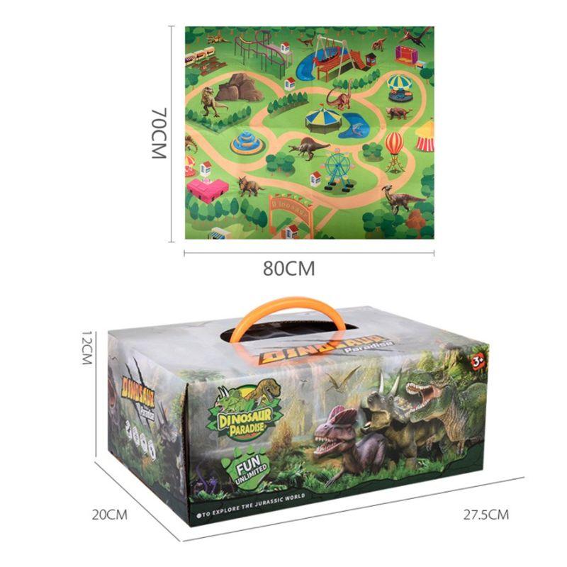 Dinosaur Toy Figure Activity Play Mat & Trees Realistic Dinosaur Playset Baby Play Mat | Happy Baby Mama
