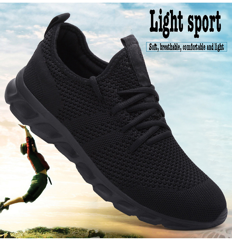 He8fea22321dc476d9144a3dc98941754N Flyknit Men Shoes Light Sneakers Men Breathable Jogging Shoes for Men Rubber Tenis Masculino Adulto Plus 35 46 48