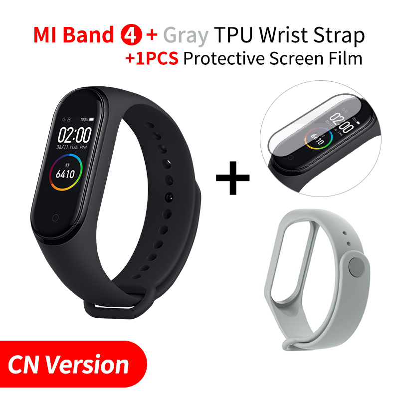 Xiaomi mi Band 4 Smart mi band 3 Цвета экран Браслет фитнес-трекер для измерения сердечного ритма Bluetooth 5,0 водонепроницаемый банда4 - Цвет: Add Grey Strap