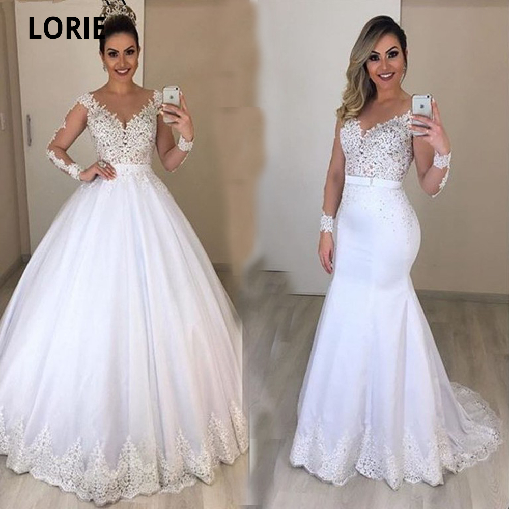 LORIE White 20 in 20 Ball Gown Wedding Dresses with with Detachable Skirt  Lace Appliques Bridal Gowns Princess Wedding Party Gowns