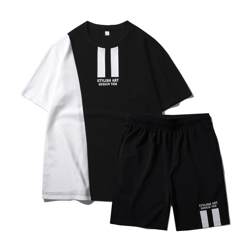 Men Tracksuit 2020 Summer New Casual Sets Solid Patchwork T Shirts +Shorts 2PC Sweat Suit Mens Sportswears Loose Tee Shirts Sets
