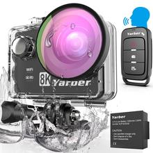 Yarber 8K WIFI Action Camera 4K 60fps 20MP HD 40M Waterproof Voice Remote Control Action Cam Motorcycle Helmet Sports Video Cam