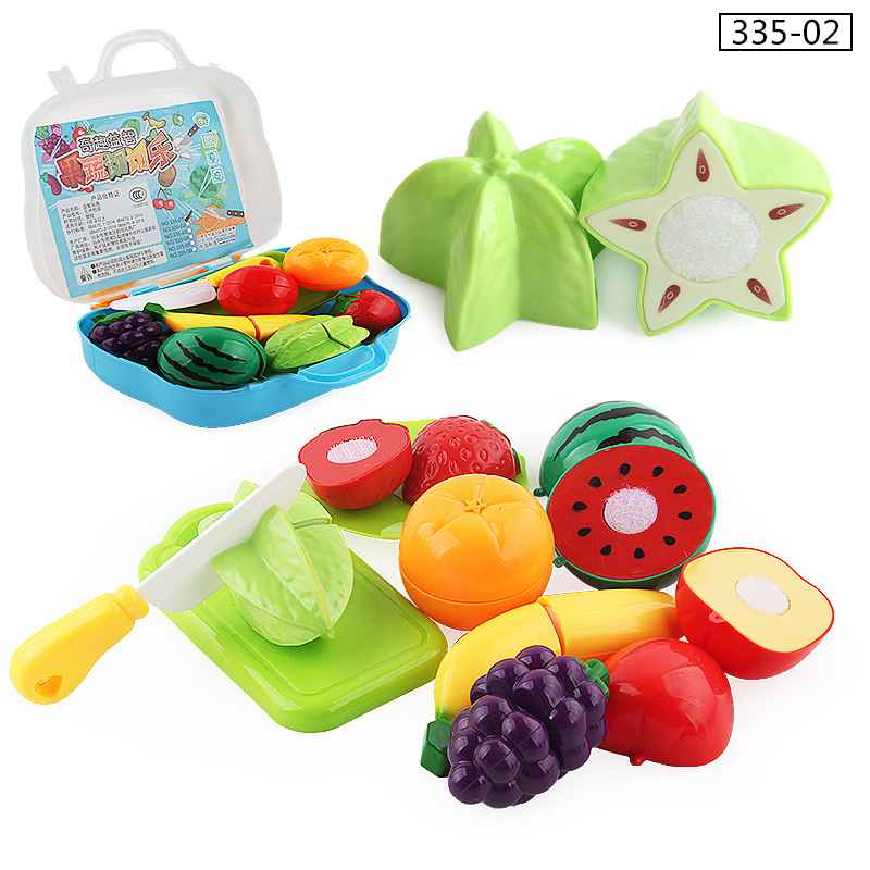 Children Kindergarten Play House Velcro Vegetable & Fruit Happy Slicer Suitcase Fun Model Kitchen Toy