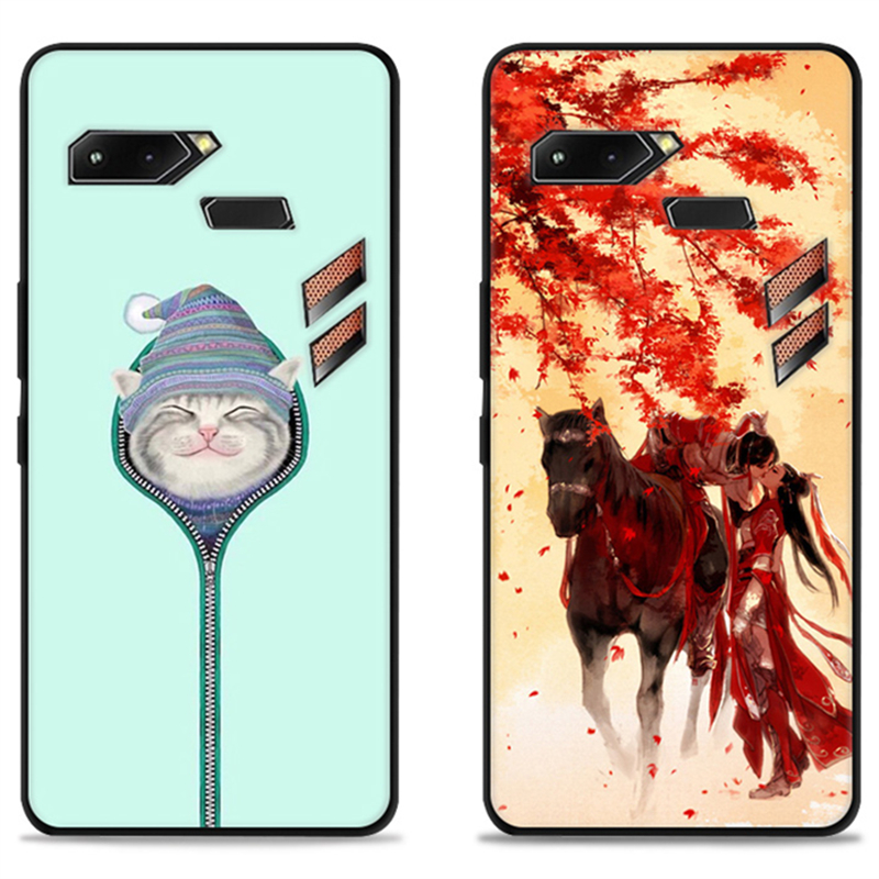 Cartoon Faston Case For Asus ROG Phone ZS600KL.TPU Painted Mobile Phone Shell Lovely Cartoon Color Painting Case.16 Colors!