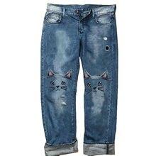 Женские джинсовые Капри с низкой талией модные модели кошек