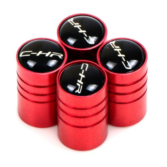 4 pçs carro válvula de pneu núcleo tampas da roda tampa da haste da válvula poeira capa para toyota c hr C-HR chr estilo do carro acessórios