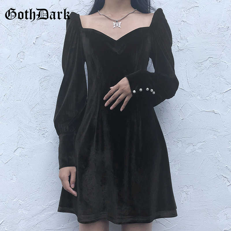 Gothic bishop sleeve silky rose print black gothic emo romance long sleeve see through mini dress baptism turtleneck pastel goth punk Twiggy